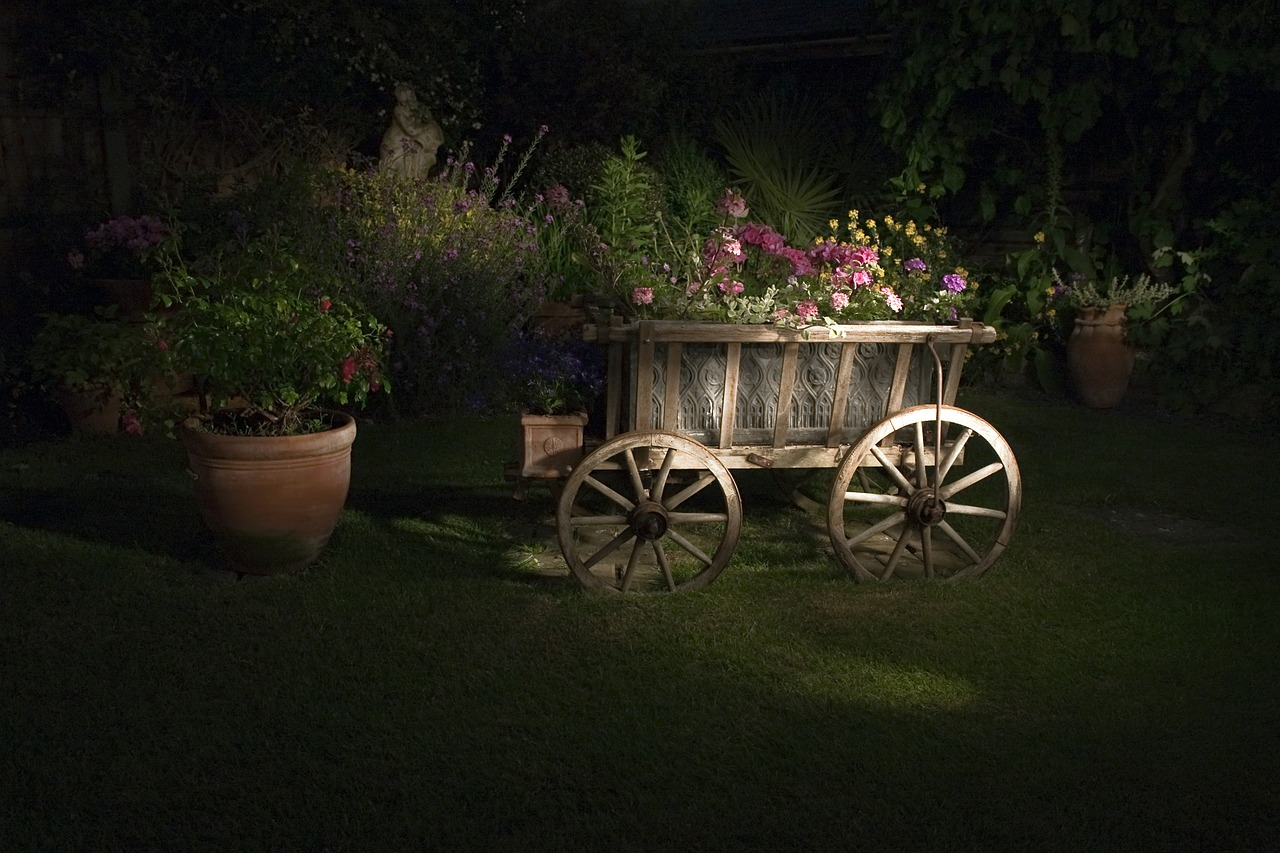 Beleuchtete Kutsche nachts, Gartenbeleuchtung